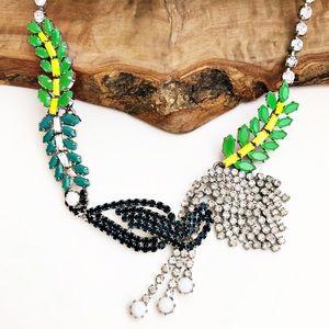 Ann Taylor silver rhinestone statement necklace